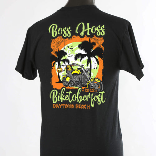 LIMITED EDITION 2018 Biketoberfest Boss Hoss Glow in the Dark Black T-shirt