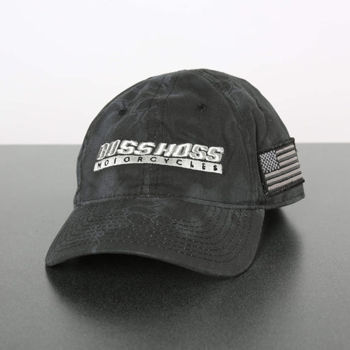 Black Boss Hoss Cap with chrome logo  OUT OF STOCK