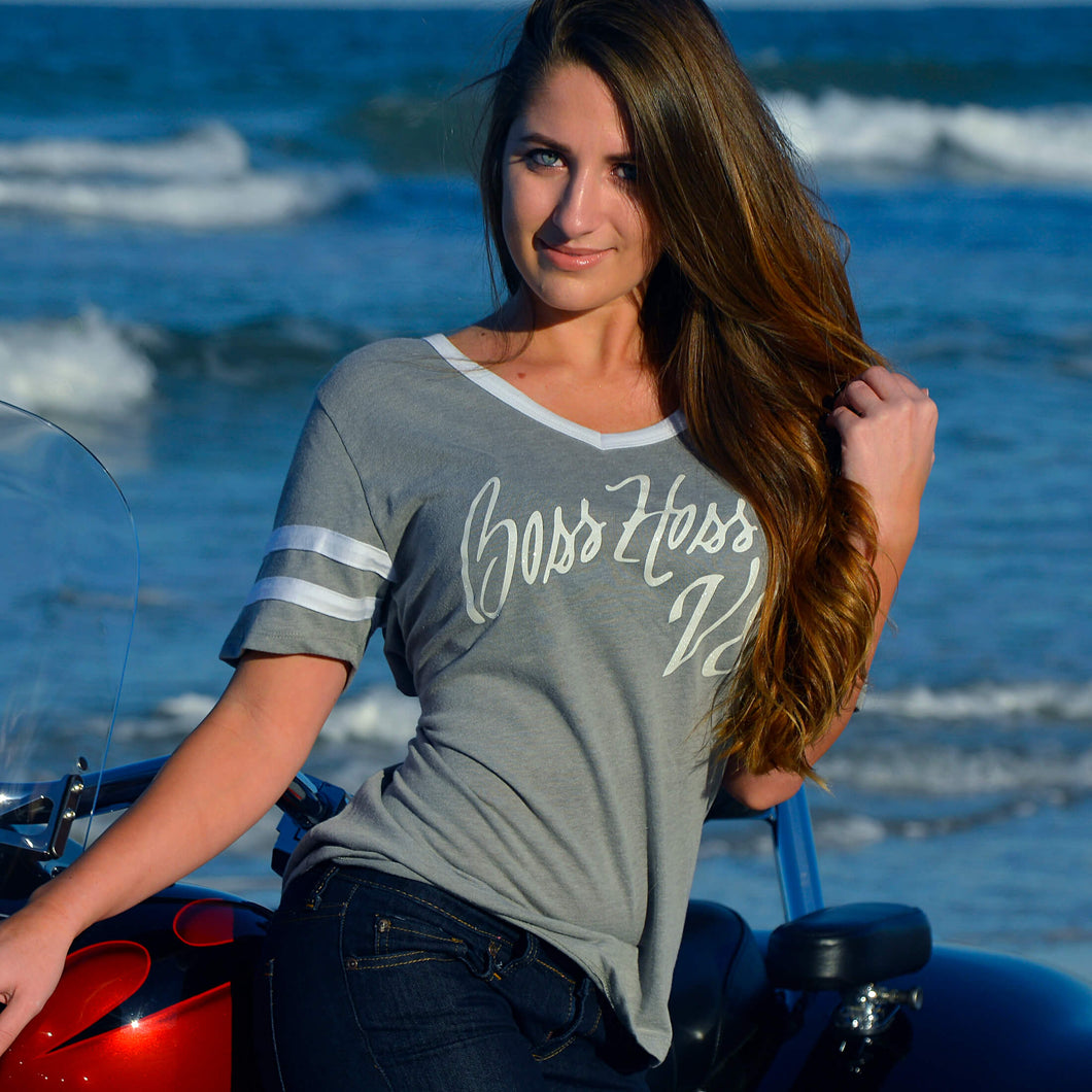 Gray and White Boss Hoss Ladies Tee OUT OF STOCK