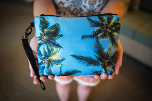 """Sky Palm Trees"" Medium Canvas Zippered Carry All"