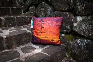 """Maliko Gulch Sunset""  Linen Throw Pillow Cover"