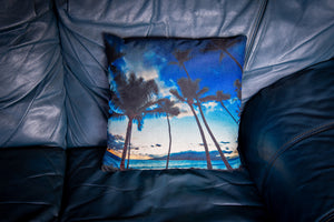 """Puamana Sunset""  Linen Throw Pillow Cover"