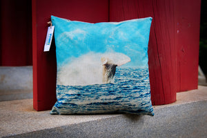 """Maui Whale Breech"" Linen Throw Pillow Cover"