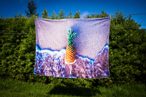 """Pineapple & Ocean"" Ultra Soft Multi Purpose Fleece Blanket"