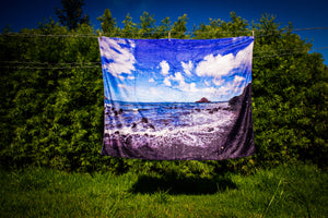 """Hana Coast Line"" Ultra Soft Multi Purpose Fleece Blanket"