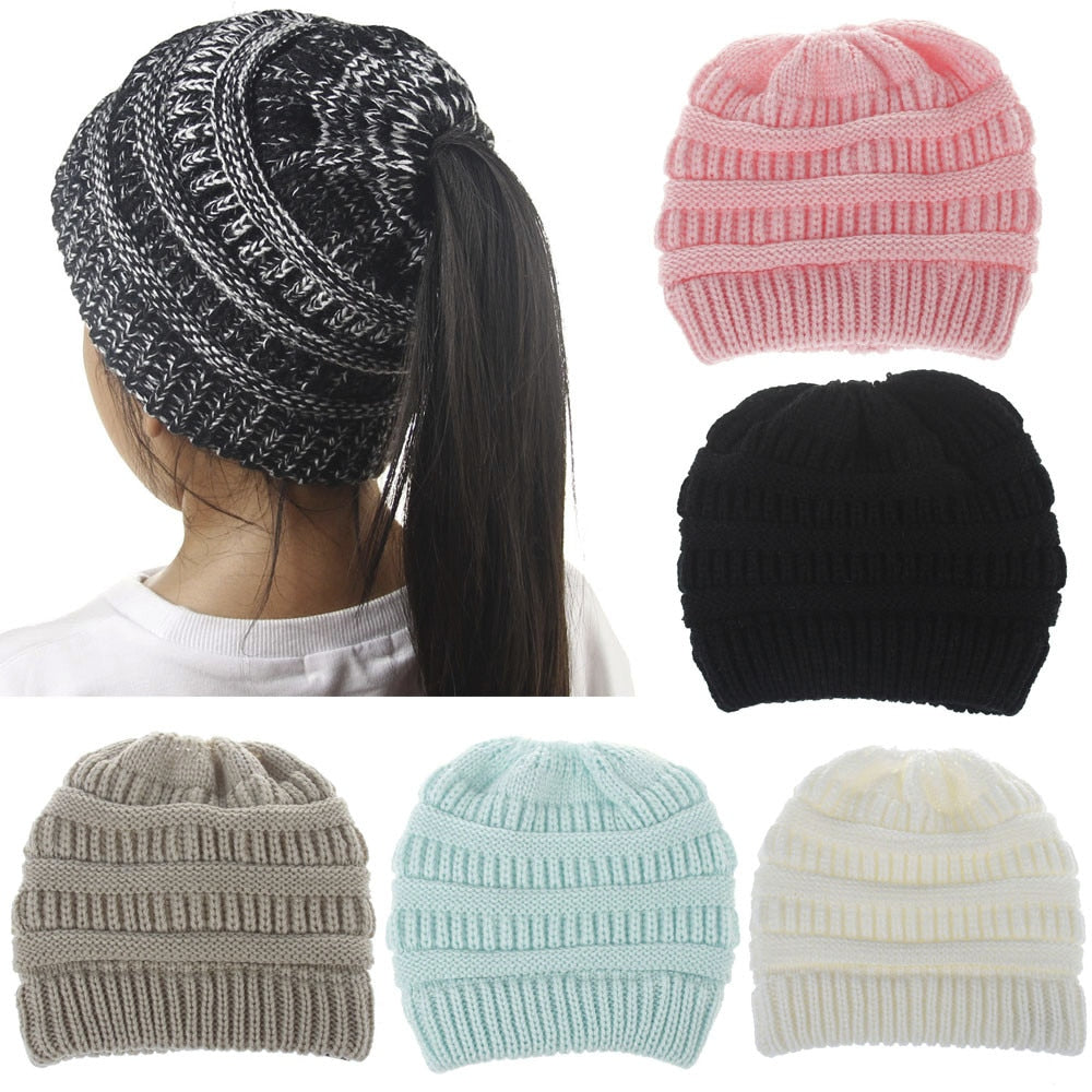 Handmade Knit Ponytail Beanies for Kids - Kids - Girls - Accessories - Hats    Scarves e79ac362236