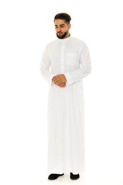 Saudi Collar White Cotton Jubba Thobe - Thobe London