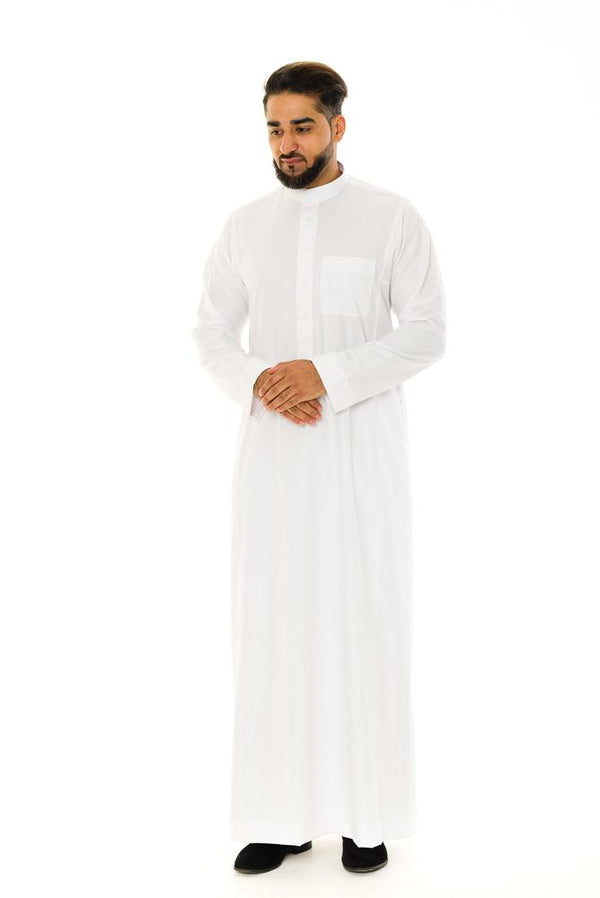 Saudi Collar Cotton Jubba Thobe - Thobe London