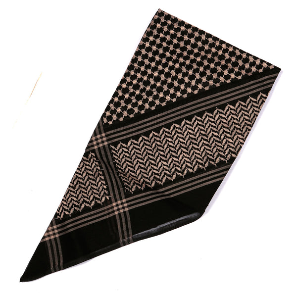 Arabian Black headscarf with Premium Gold Embroidery Shemagh