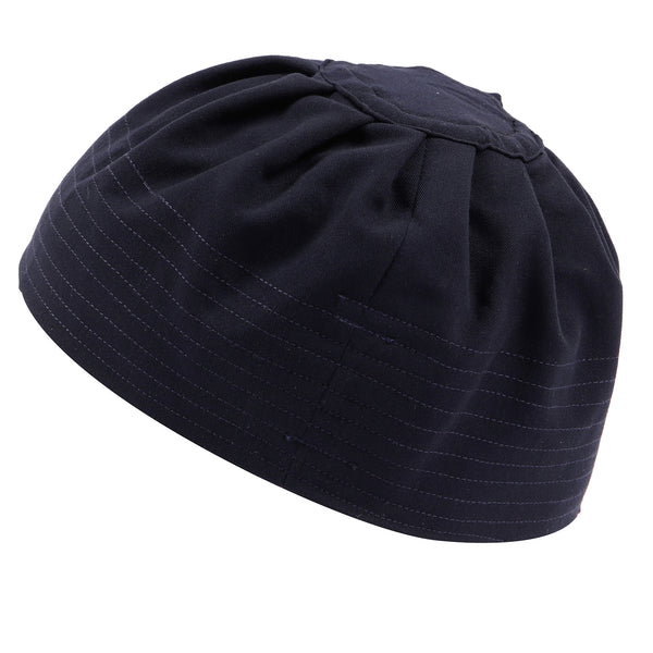 Navy Premium Kufi Prayer Hat with Pleats - Thobe London
