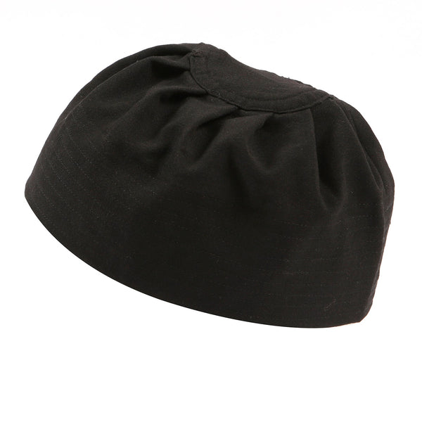 Black Premium Kufi Prayer Hat with Pleats - Thobe London