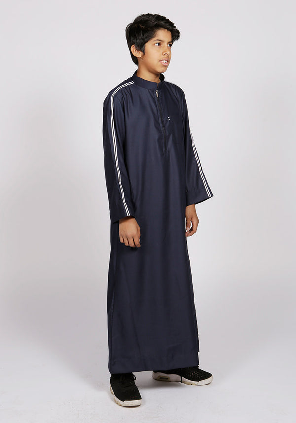 Navy Sport Stripe Kids Jubba - Thobe London