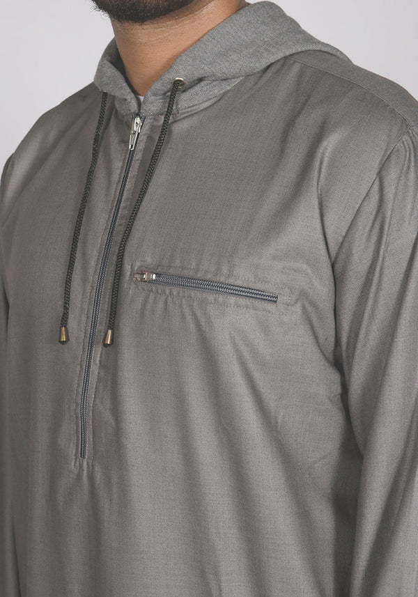 Grey Urban Hoody Jubba Thobe - Thobe London