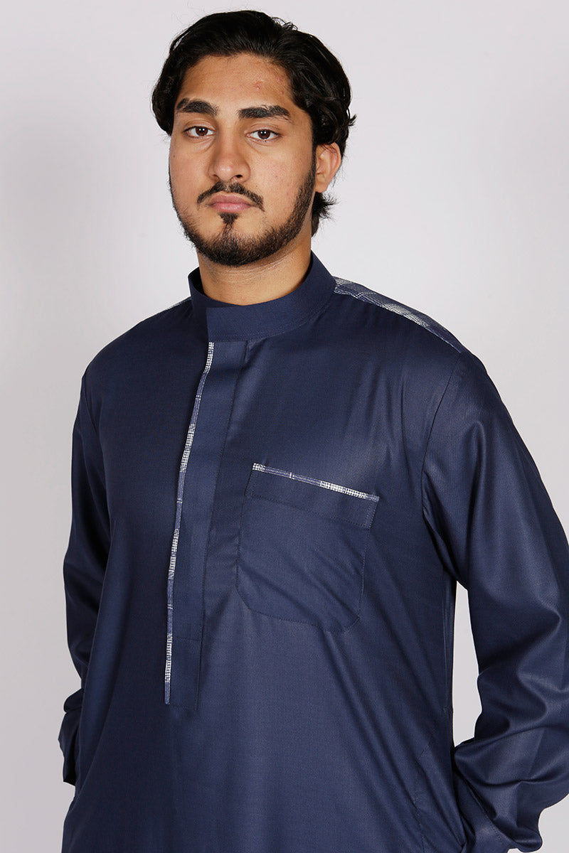Navy Casual Designer Thobe - Thobe London