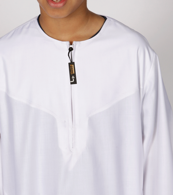 Omani kids thobe Emirati Style (White) - Thobe London
