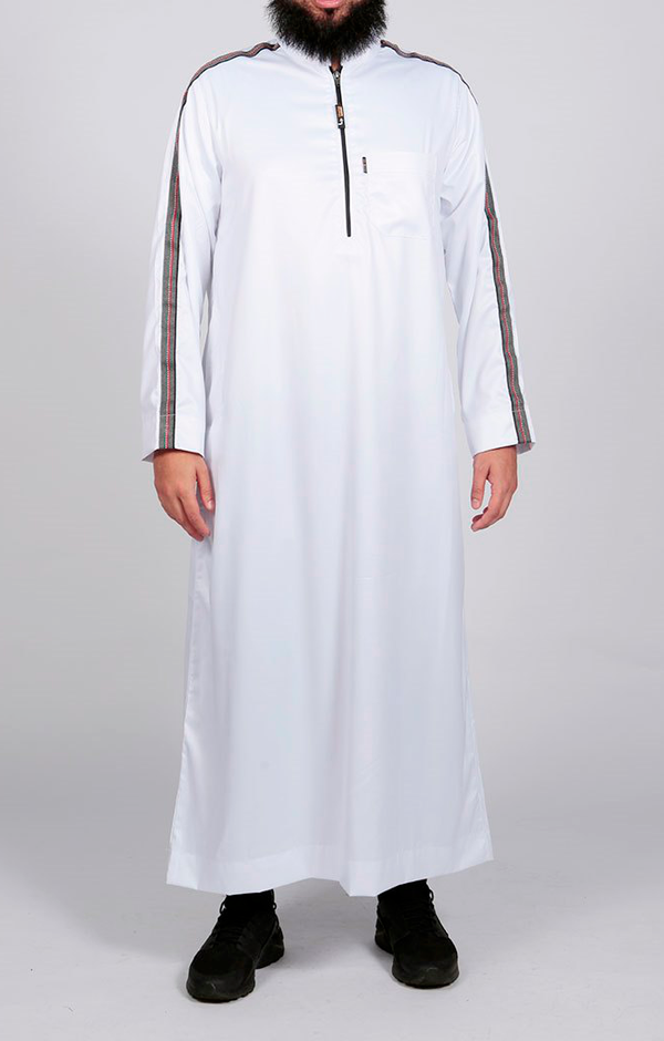 White Sport Stripe jubba - Thobe London
