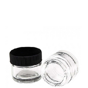 10ml Wide Mouth w/ Black Plastic Screw-Top Lid Glass Jar - 1000 pcs