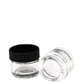 5ml Wide Mouth w/ Black Plastic Screw-Top Lid Glass Jar - 1000 pcs