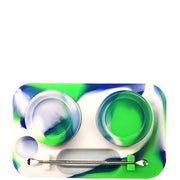 Silicone Mini Tray with 2 Concentrate Jars & Metal Dabber  - Assorted Colours