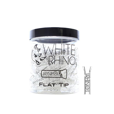 White Rhino Glass Tips Flat - 100 Pack