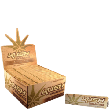Kush Unbleached KS Slim Rolling Papers – 50 Pack Box