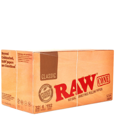 RAW Classic 1 1/4 Pre-rolled Cones - 32 Bundle Pack