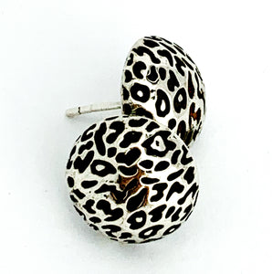 Leopard Print Stud Earrings, Silver (Large)