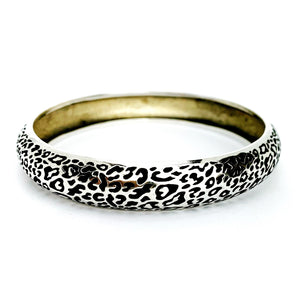 Domed Leopard Print Bangle, Silver