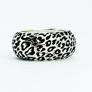 Domed Leopard Print Ring, Silver
