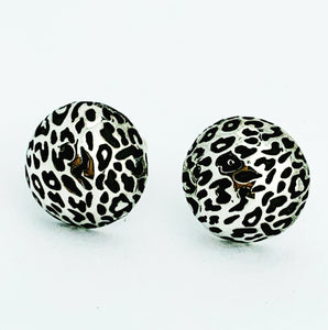 Leopard Print Stud Earrings, Silver (Small)