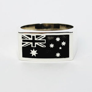 Australian Flag Gents Ring - Solid Sterling Silver