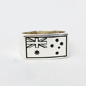 Australian Flag Gents Ring Engraved - Solid Sterling Silver