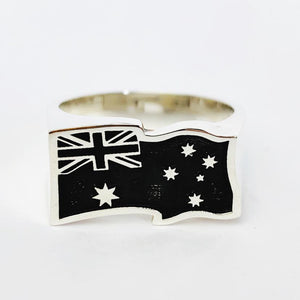 Australian Flag Gents Ring - Wavy - Solid Sterling Silver