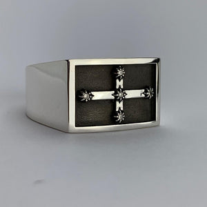 Eureka Flag Gents Ring, Silver with Diamonds