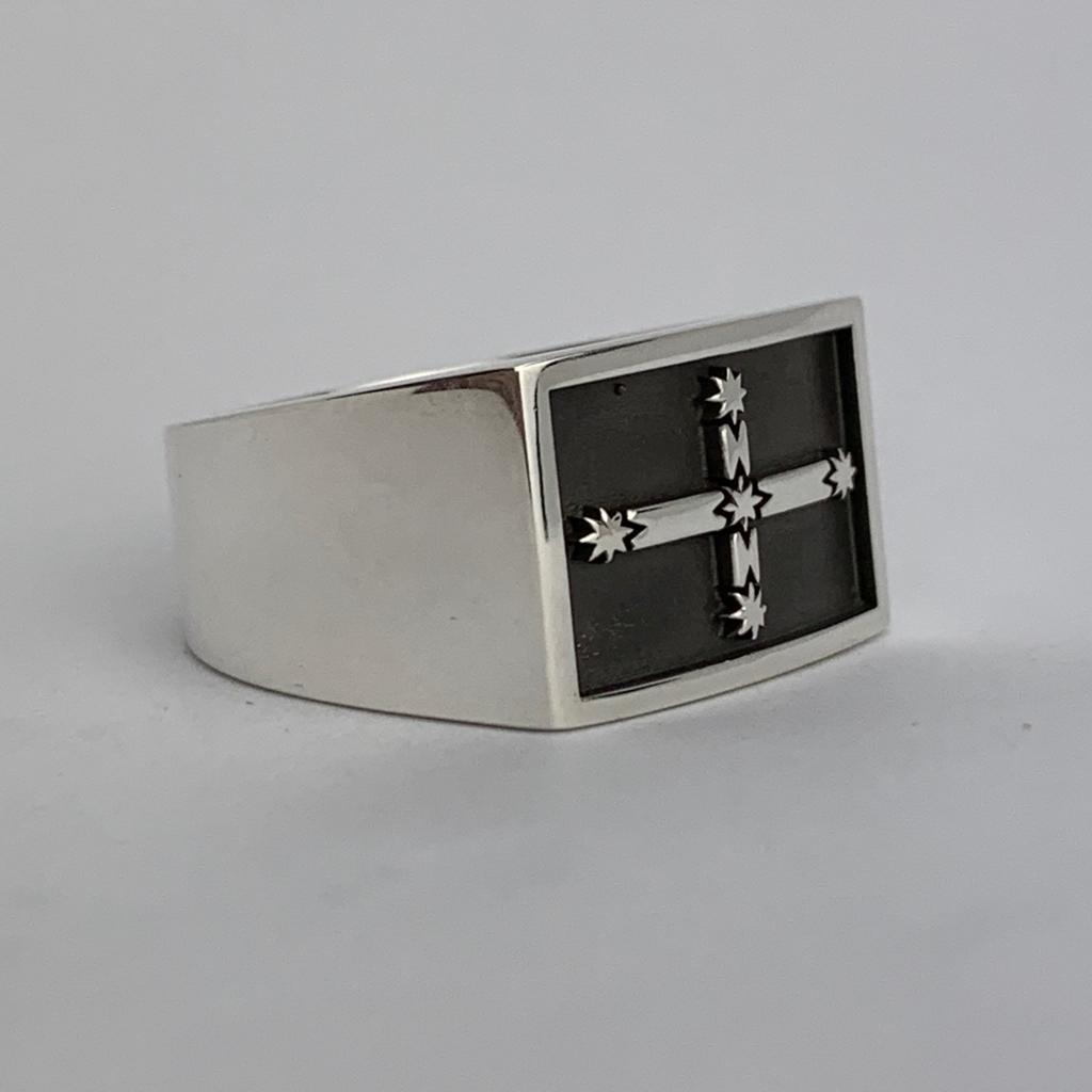 Eureka Flag Gents Ring - Solid Sterling Silver - Plain