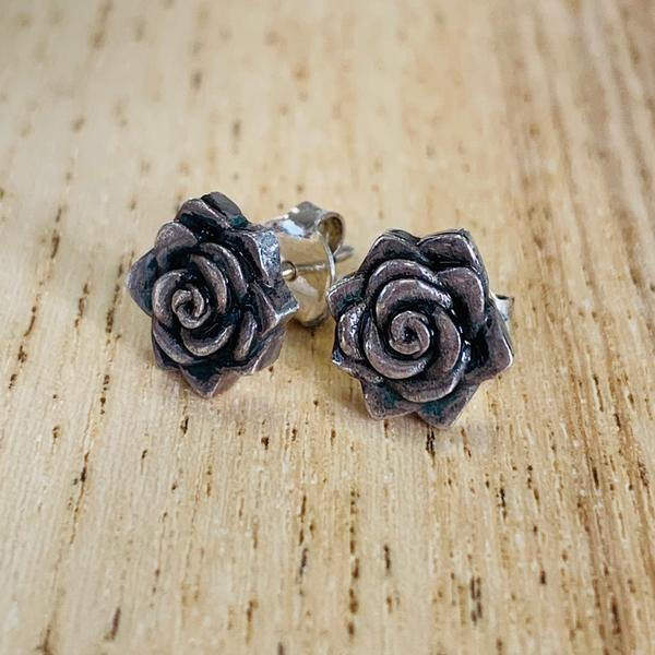Rose Stud Earrings, Silver