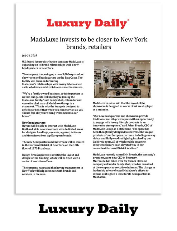 Luxury Daily: MadaLuxe invests to be closer to New York brands, retailers