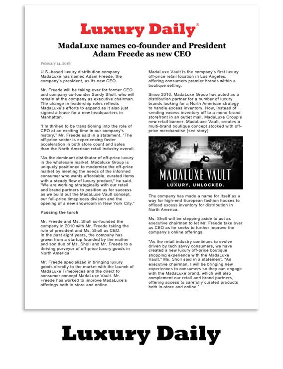 Luxury Daily: MadaLuxe names co-founder and president Adam Freede as new CEO