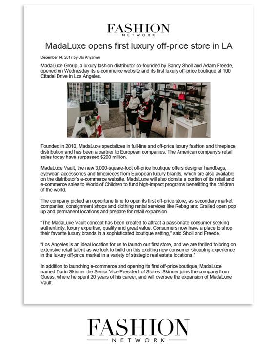 Fashion Network: MadaLuxe opens first luxury off-price store in LA