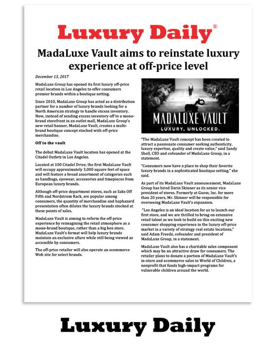 Luxury Daily: MadaLuxe Vault aims to reinstate luxury experience at off-price level