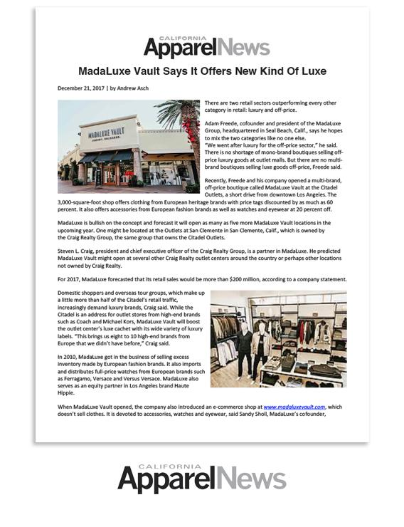 California Apparel News: MadaLuxe Vault Says It Offers New Kind Of Luxe