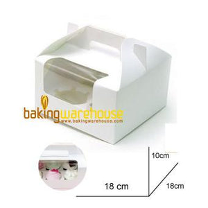 White Cup Cake Box with handle