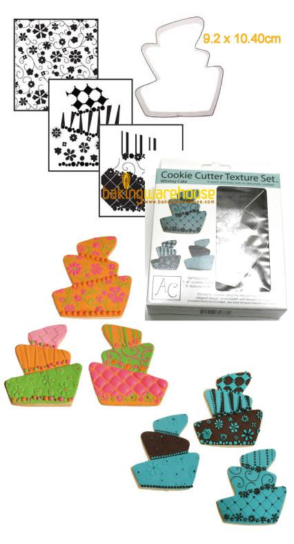 Topsy TurvyWedding cake cookie cutter with texture sheet