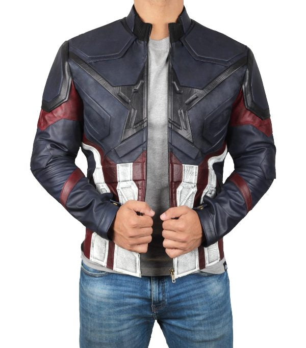 Captain America Blue Distressed Jacket