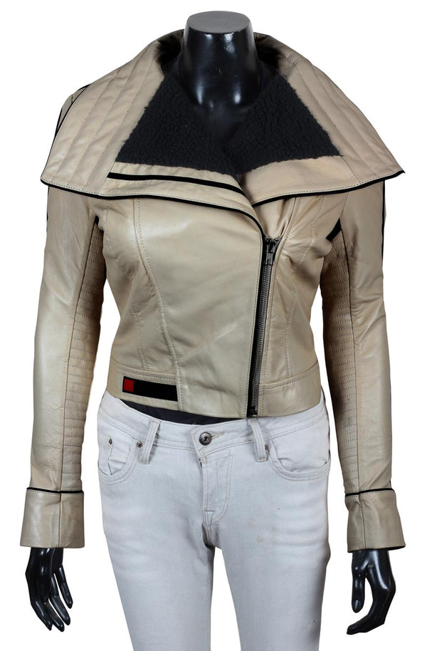 Solo a Star Wars Story Shearling Beige Leather Qira Jacket