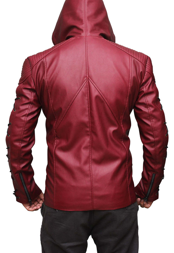 Arsenal Red Arrow Hooded Leather Jacket