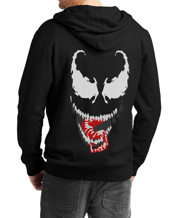 Venom Face Logo Black Zip Up Tom Hardy Hoodie