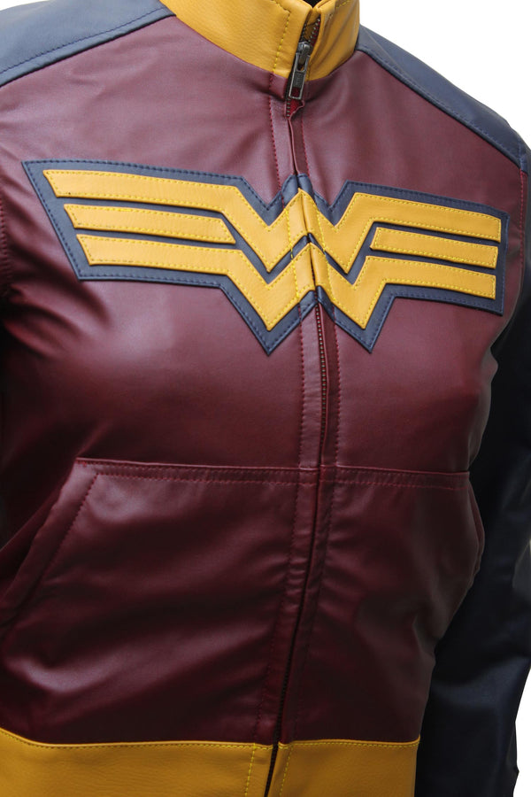 Wonder Woman Comic Logo Leather Jacket