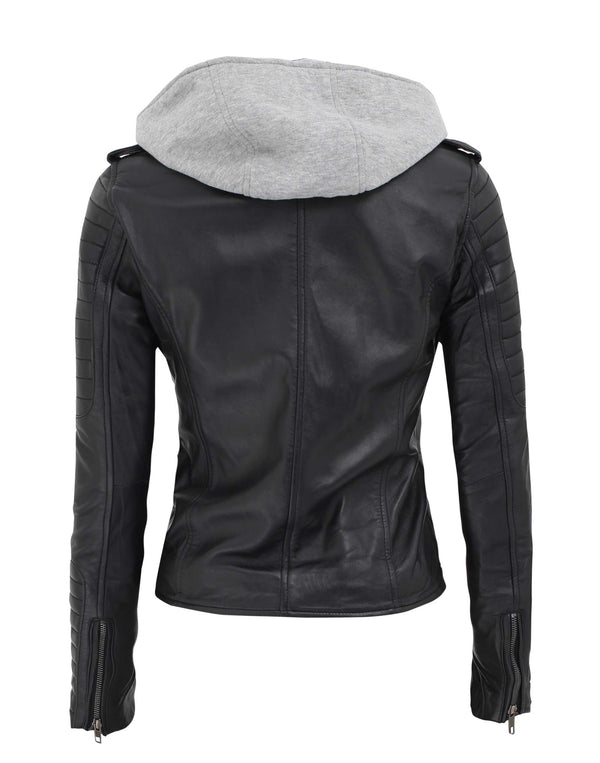 Black Leather Jacket with Hood