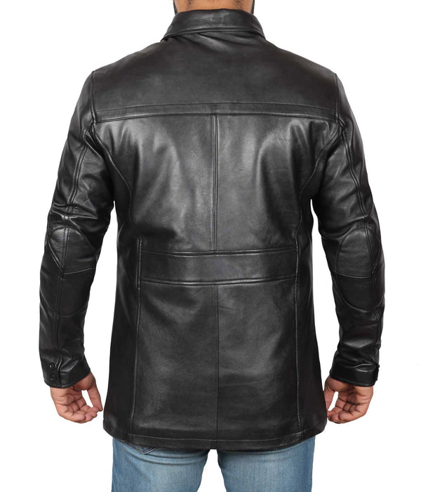 Black Leather Car Coat